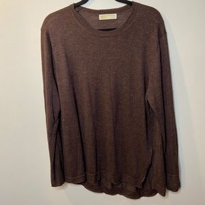 Michael Kors Womens Medium Brown Long Sleeve Top